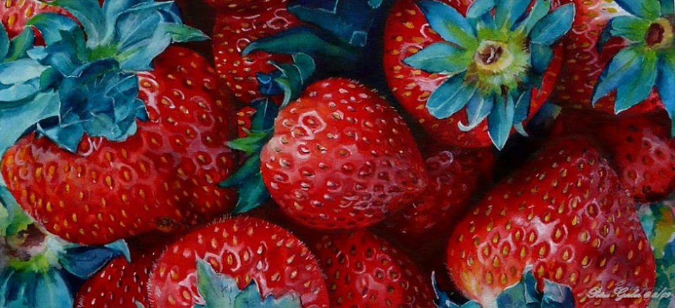 Strawberry watercolor painting